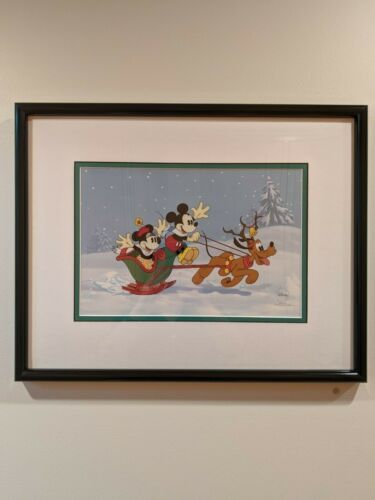 Mickey Sleigh Ride Sericel Flat Art LE 2500