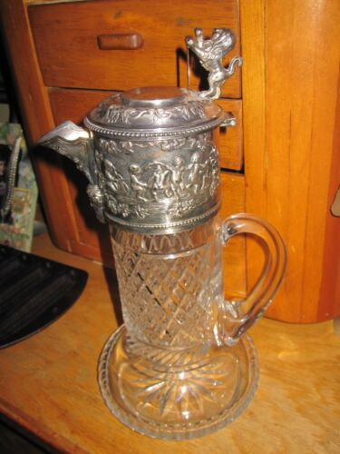 Antique Silver Plated and Cut Glass Claret Jug with Bacchus Mask Spout