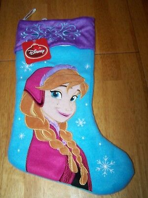"""New Large DISNEY FROZEN ANNA CHRISTMAS STOCKING Plush Embroidered Quilted 19"""""""