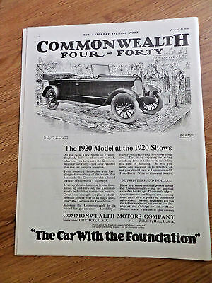 1920 Commonwealth Motors Co Joliet Ill Ad 1920 Four-Forty Five Passenger Model