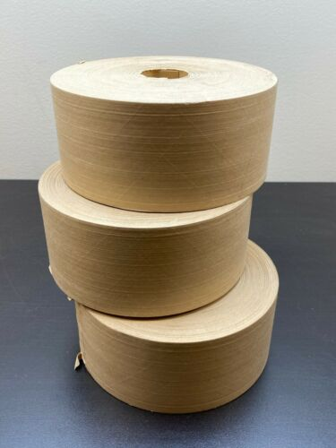 "3 Rolls Reinforced Gummed Kraft Paper Tape Central Brand K6524 3"" x 450 Feet"
