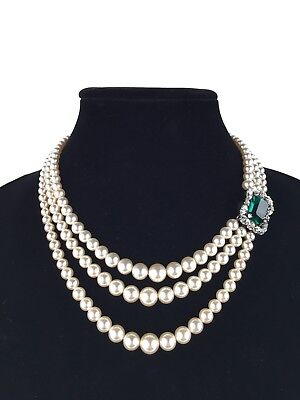 Vintage Three Strand Costume Pearl Faux Emerald Green Rhinestone Clasp Necklace (Emerald Costume)