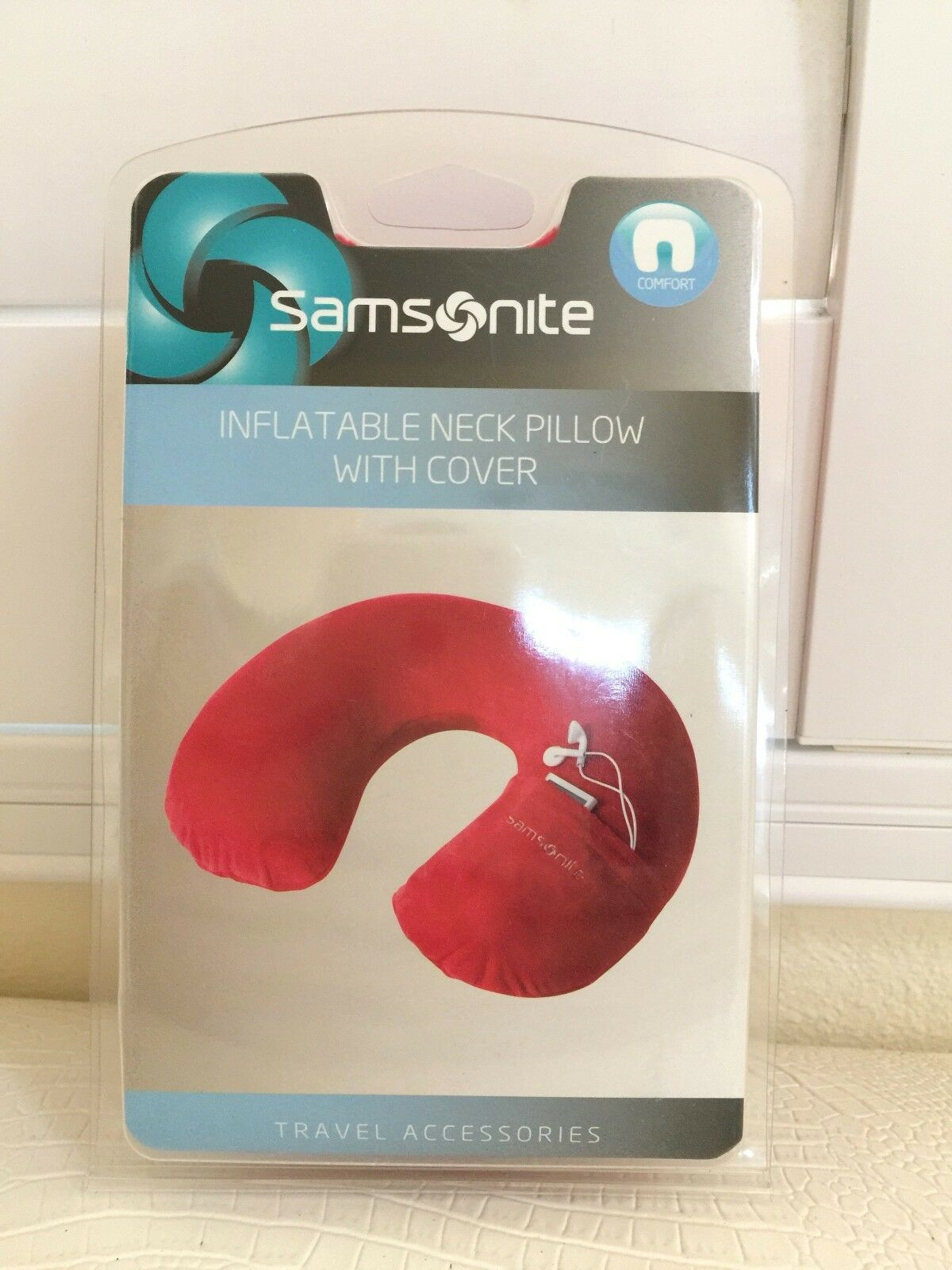 Samsonite Travel Pillow for Neck Deluxe Inflatable with Cove