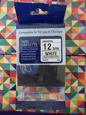 Compatible Tz-231 Tze-231 12mm 12 Label-tape Black Ink 26.2 Ft 8m Noem Brother