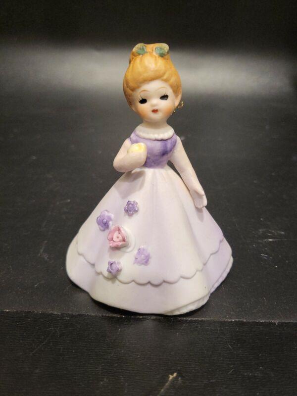 "Vintage Bisque Figurine Ornament Girl in Purple Dress Flowers 3 1/4"""