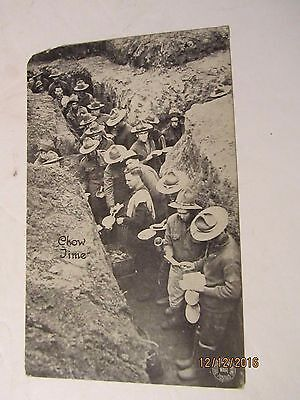 1917 WWI American Chow Line in the Trenches Postcard by G J Kavanaugh