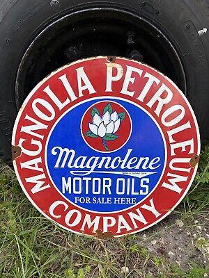 """Vintage Magnolia Porcelain Metal Gas and Oil Sign Magnolene Petroleum 18"""" Lube"""
