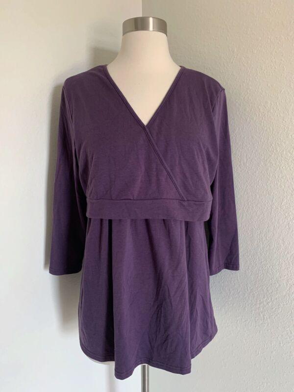 Milk Nursingwear V Neck Shirt Top Breastfeeding Maternity Purple Womens L Large