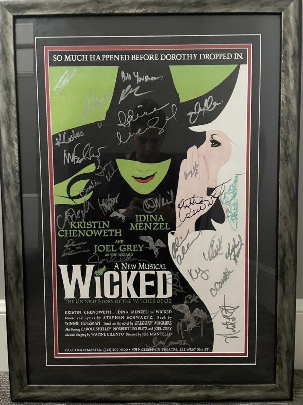 Wicked Original Cast SIGNED 21x29 FULL POSTER Kristin Chenoweth Idina Menzel
