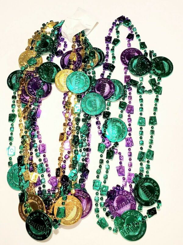 Mardi Gras Harrahs Casino Necklace Beads Parade Route Throws New Orleans Lot 10