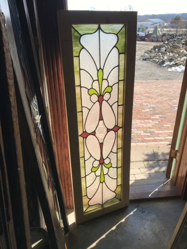 Sg 3257 Antique stained and textured glass transom window 19 x 59