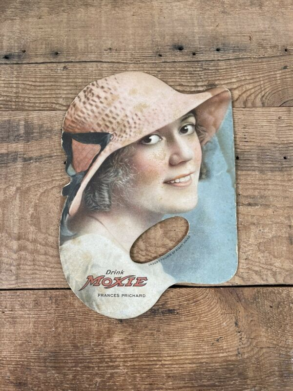Antique 1918 MOXIE Fan Frances Pritchard Advertising Promotional Rare