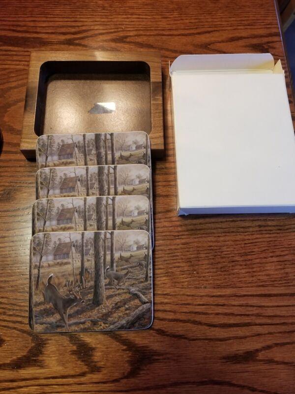 Great Vintage Deer Hunter Design Cork Coasters Set of 4 Original Wooden Case Box