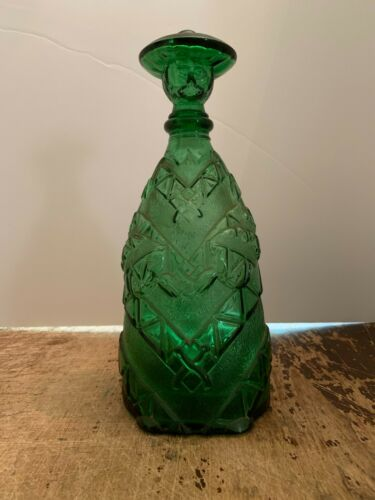 Vintage Figural Man Green Glass Wine Bottle Decanter Made In Italy