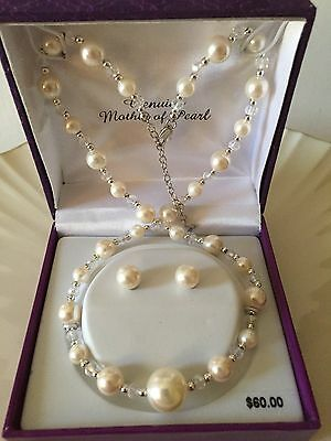 Mother of Pearl Necklace and Earring Set New From Kohls