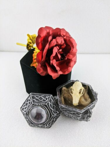 W95 24kt Gold and Red Rose with Bat Skull Collectible Curiosity Cabinet Decor