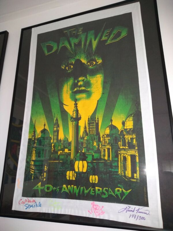 THE DAMNED SIGNED #197/300 40TH Anniversary TEA TOWEL Dave Vanian poster punk