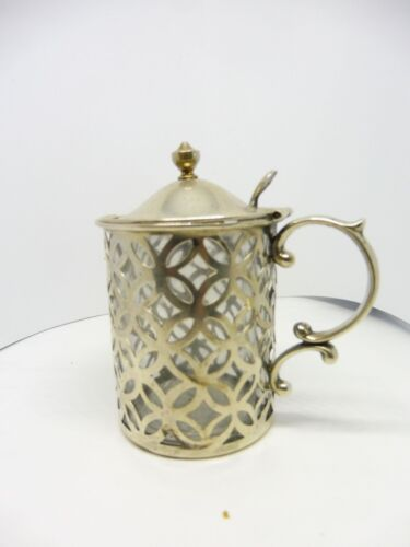 STERLING SILVER MUSTARD POT WITH CLEAR GLASS FITTER