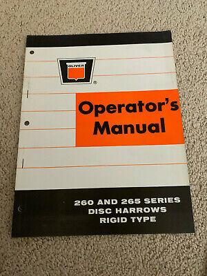 Oliver Operators Manual 260 And 265 Series Disc Harrows Rigid Type