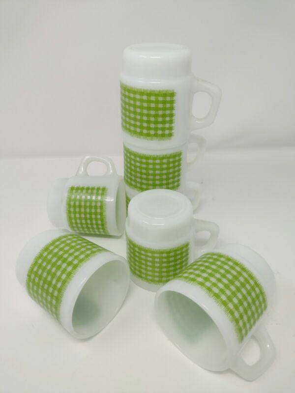 Vintage Set of 7 Anchor Hocking Fire King Gingham Plaid Green Coffee Mug Cups