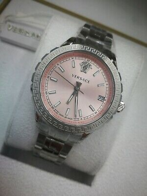 Versace HELLENYIUM Pink Silver Luxury V12010015 Ladies Watch Swiss 1Y Warranty
