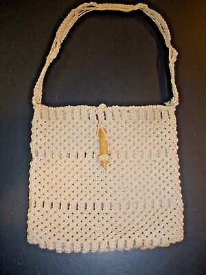 (Vtg Macrame Purse with beads clasp 9