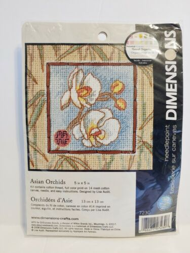 Dimensions Needlepoint Kit 7230 Asian Orchids Oriental Floral 5x5 New Sealed