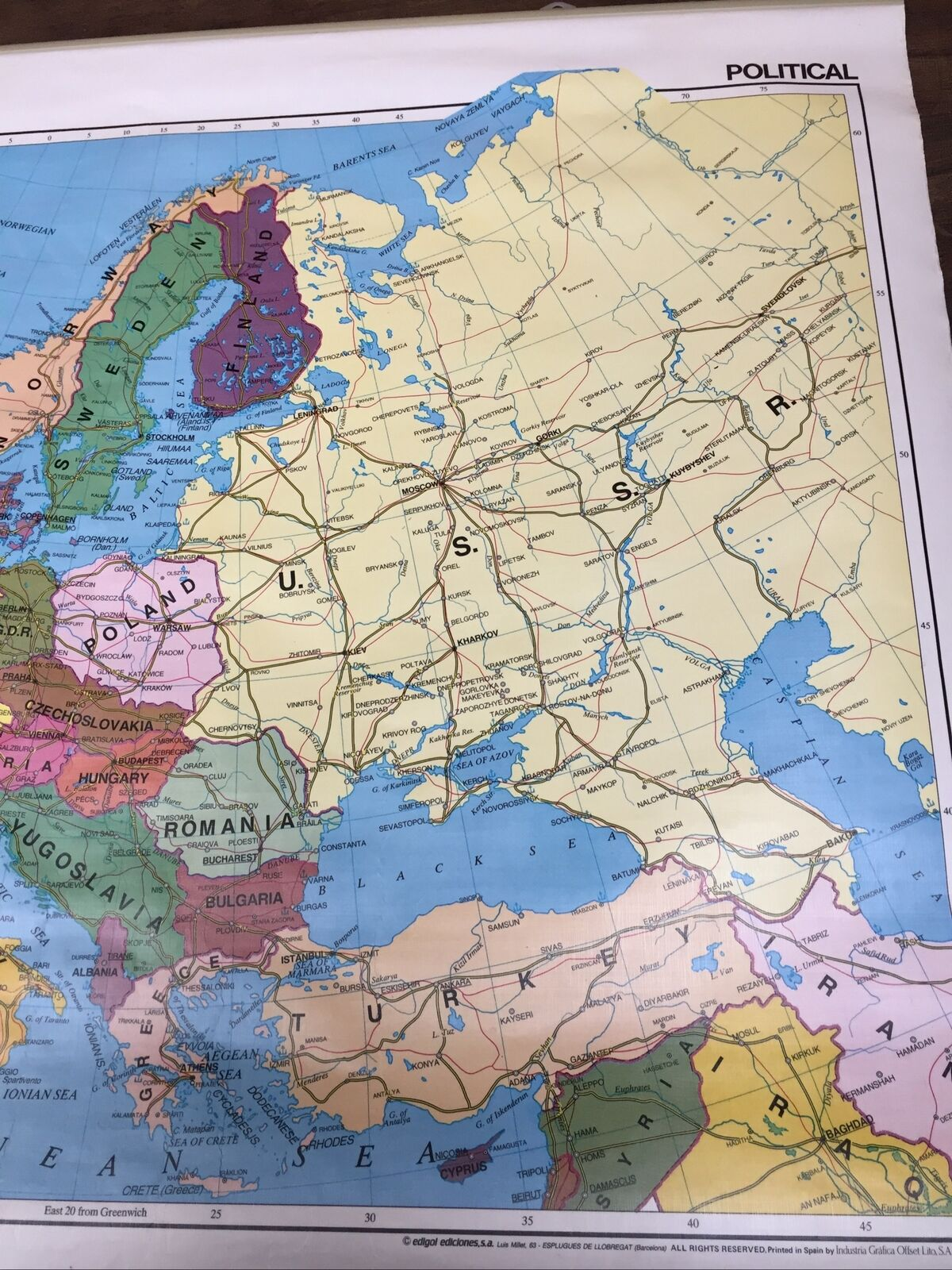 Rare Large Vintage Doublesided School Map Europe 1987 Physical  Political