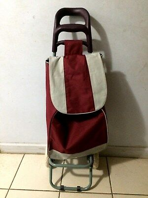 New Utility Folding Trolley Cart With Rolling Wheels And Bag Burgundy Color