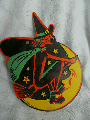 BEISTLE Vintage Halloween Witch on Broomstick w/ Moon Cardboard Decoration