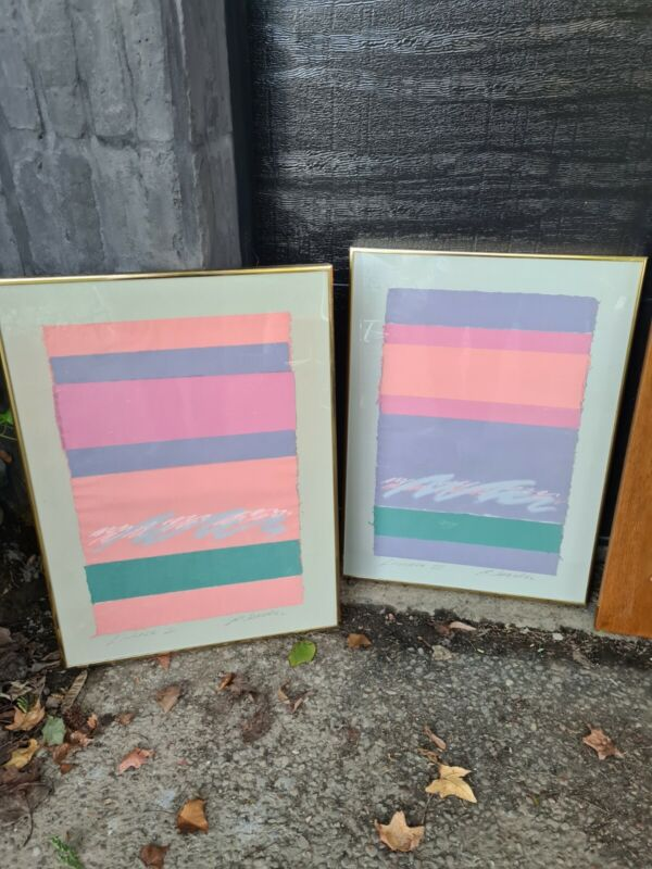 Vintage Harris G Strong Abstract  1980s Design mixed media Wall Art