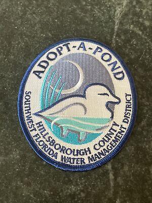 "Adopt A Pond Hillsborough County FL Iron On Patch Logo Rare 4"" Vtg Trucker Hat"
