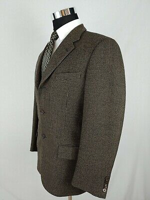 Joseph Abboud Black Men's Brown Check Wool Cashmere Sport Coat Blazer Jacket 38S