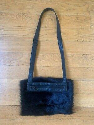 Karl Donoghue Designer Black Lambswool/Fur & Leather Snood Zip Bag - never used