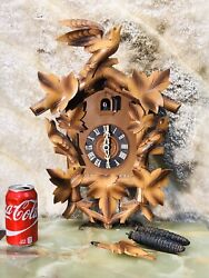 Large Vintage Germany Wall Striking Cuckoo Clock With  2 Weight,pendulum Working