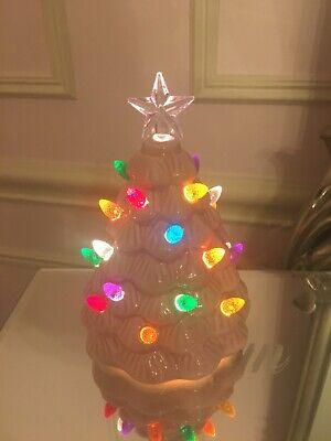 BRAND NEW CHRISTMAS PINK CERAMIC LIGHT UP SMALL TREE