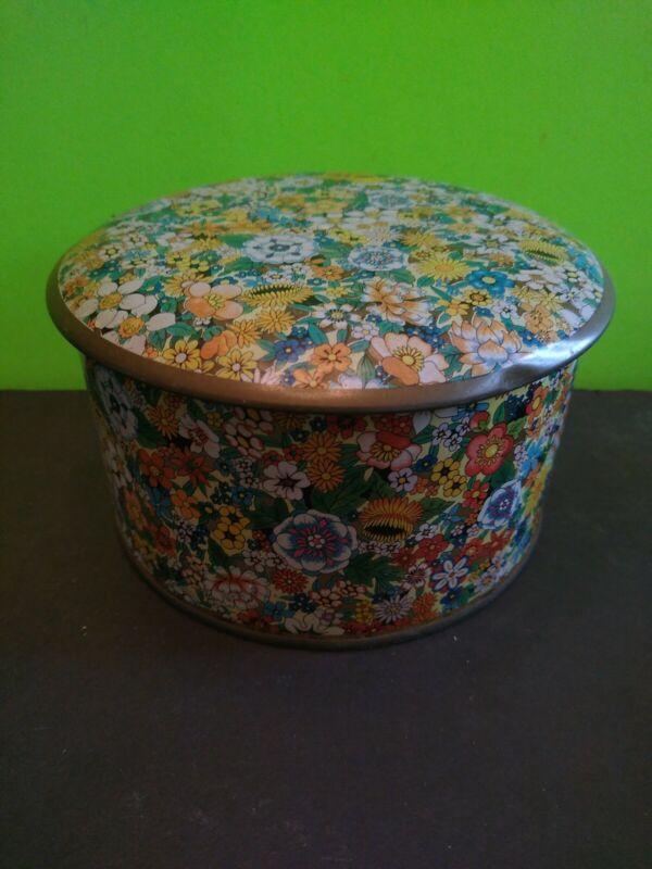 Daher Wildflower Round Tin~Shabby Chic!~Decorative Floral Design England w/ Lid
