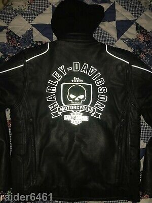 Harley Davidson Men's Troy Willie G Skull Leather Jacket 3n1 Hoodie L 97184-14VM