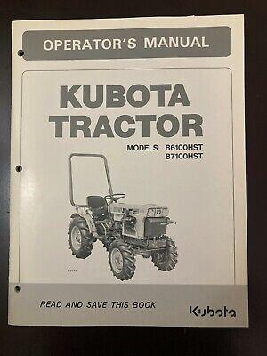 Kubota B6100hst B7100hst Operators Manual