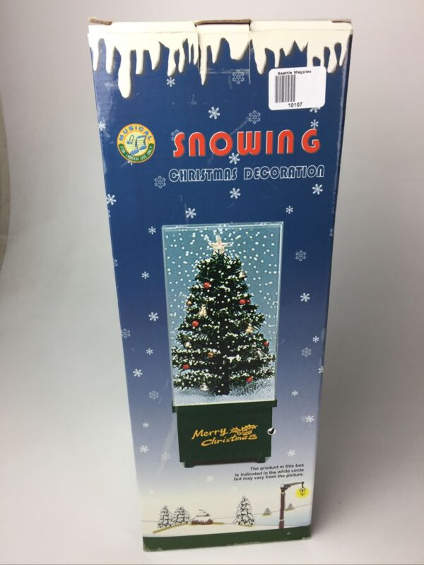 """Vintage Snowing Musical Christmas Tree Holiday Decoration 16"""" Tall Northlight"""