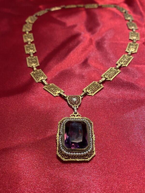 "Antique Victorian Filigree Brass Purple Stone Huge 17"" Necklace Excellent"