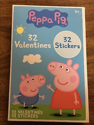 Peppa Pig 32 Valentines And Stickers Lot Of 4 Boxes Classroom Valentines Cards