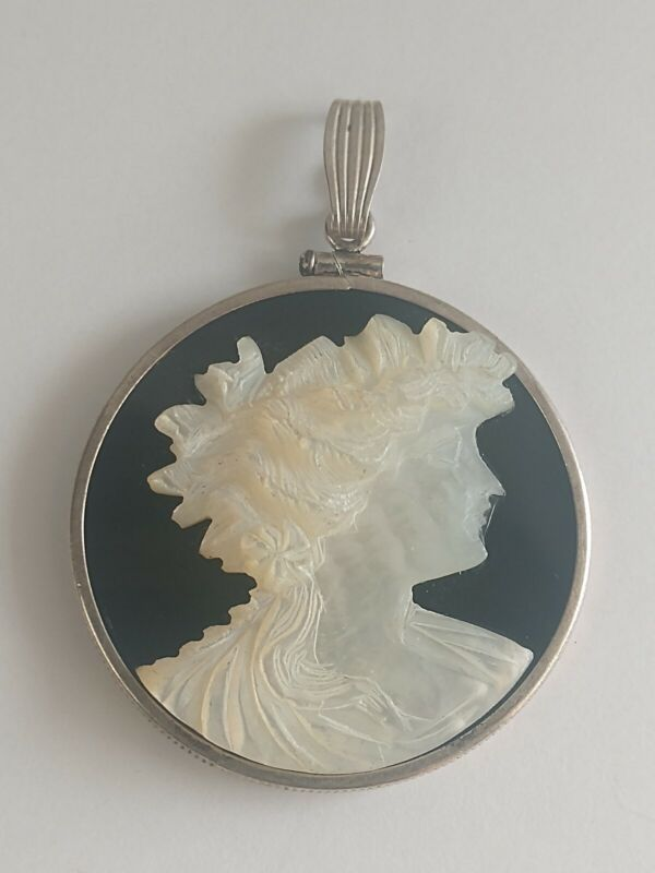 Antique Estate Carved Abalone Shell & Onyx Cameo Sterling Silver Pendant