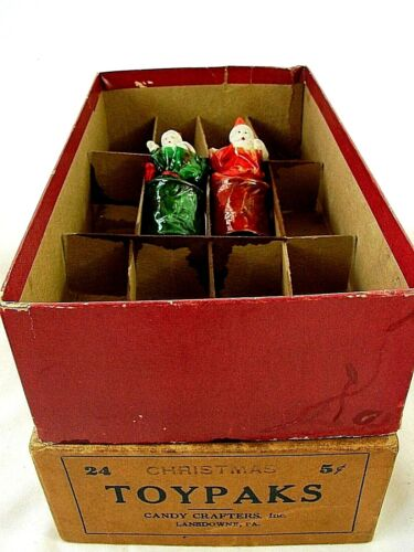 ANTIQUE Bisque Santas & Cello Wrapped Candy in Box - Toypak Candy Crafters Inc.