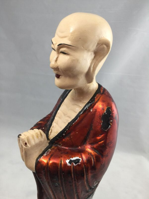 LARGE Rare Oriental wood statue polychrome painted praying monk hand carved VTG
