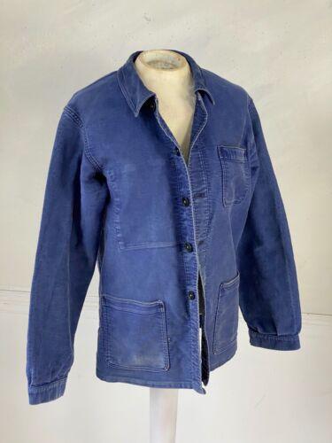 Moleskin Jacket Chore coat Work wear French blue jacket  Bill Cunningham denim