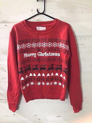 New Red Merry Christmas Xmas Party Reindeer Sweater Sweatshirt Jumper M Gift