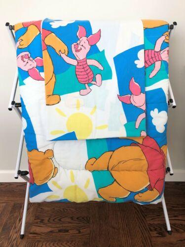2 Pc Vintage Disney WINNIE THE POOH PIGLET Comforter Flat Sheet Blue Clouds Twin
