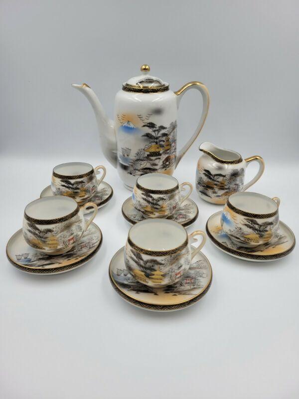 Vintage Kutani Lithophane Geisha Girl Tea Set 12 Pieces