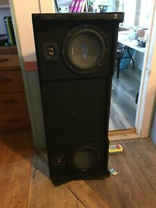 "2 10"" subs in custom box. Fits second Gen dodge"